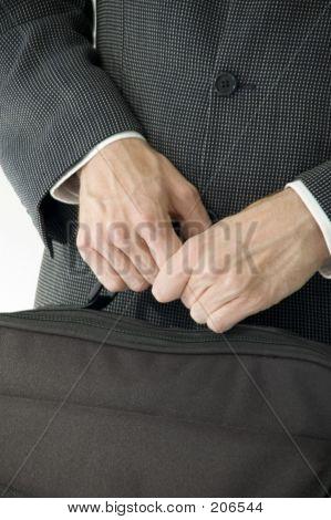 Man In Suit Holding Laptop Case