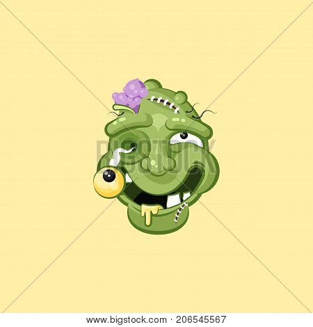 Stock vector isolated illustration horrible cartoon head, facial expression zombie with dreamily smiling smiley emotion, emoji, sticker for celebrating Day of all Saints, Happy Halloween in flat style