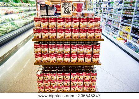 VICTORIA GARDENS BANGKOK THAILAND - SEPTEMBER 06: Foodland Supermarket fully stocks condensed milk on September 03 2017 in Bangkok.