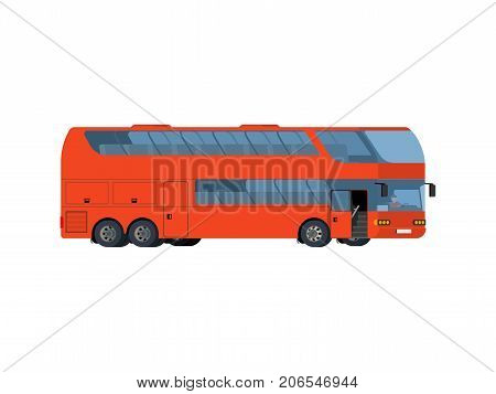 Red double-decker coach big tour bus isolated on white background