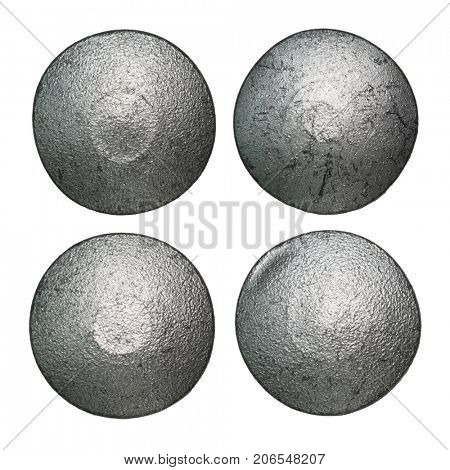 Iron rivet heads isolated on white.