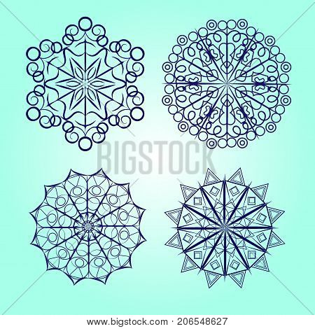 Snowflake vector icon background set white color. Winter blue christmas snow flat crystal element. Weather illustration ice collection. Xmas frost snow flake isolated silhouette symbol