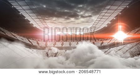 Digitally generated image of stadium with smoke