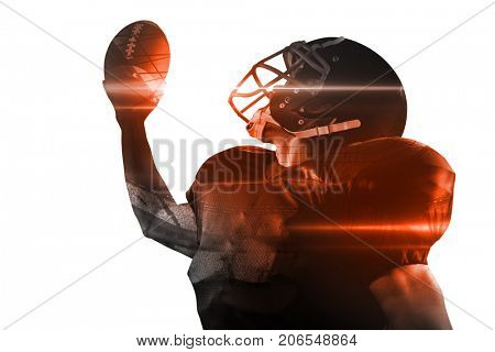 American football player in jersey and helmet holding ball against white background