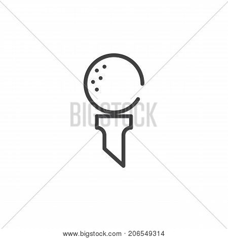 Golf ball on tee line icon, outline vector sign, linear style pictogram isolated on white. Symbol, logo illustration. Editable stroke