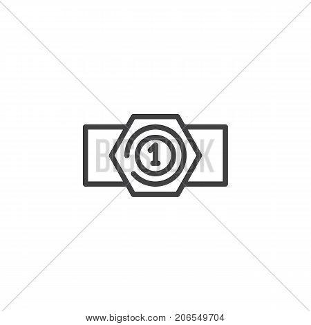 Champion belt line icon, outline vector sign, linear style pictogram isolated on white. Symbol, logo illustration. Editable stroke