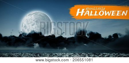 Graphic image of ghoulishly Halloween text against view of sea against sky