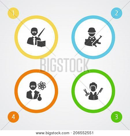 Collection Of Leaner, Stylist, Military And Other Elements.  Set Of 4 Position Icons Set.