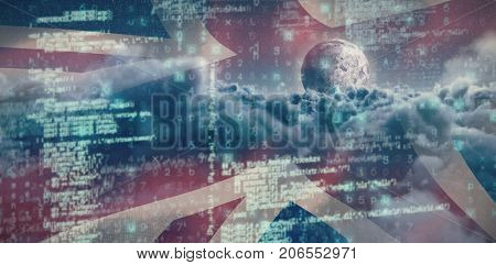 Image of data against composite image of british flag and clouds