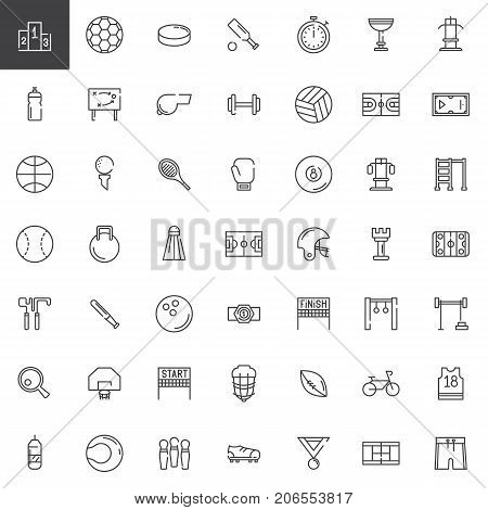 Sports equipment line icons set, outline vector symbol collection, linear style pictogram pack. Signs, logo illustration. Set includes icons as podium, football, dumbbell, volleyball, basketball