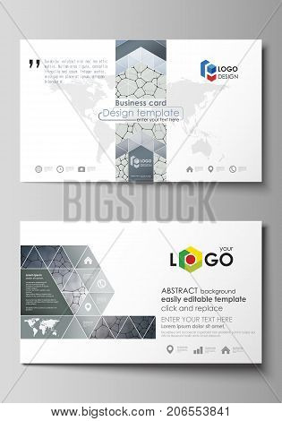 Business card templates. Easy editable layout, abstract vector design template. Chemistry pattern, molecular texture, polygonal molecule structure, cell. Medicine, science, microbiology concept