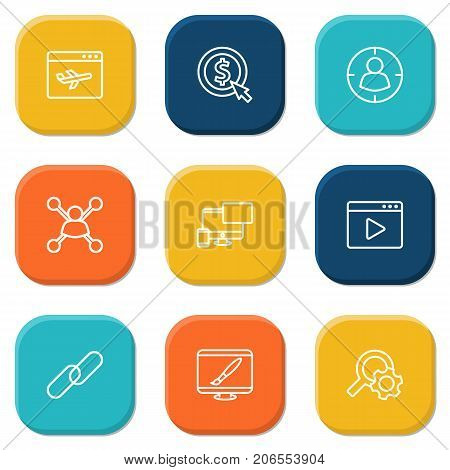 Collection Of Targeting, Stock Exchange, Search And Other Elements.  Set Of 9 Search Outline Icons Set.