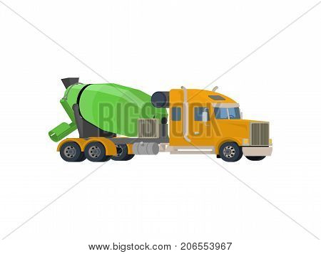 Concrete mixing truck vector. Flat design. Industrial transport. Construction machine. Yellow lorry with green mixer. For construction theme illustrating, building companies ad. On white