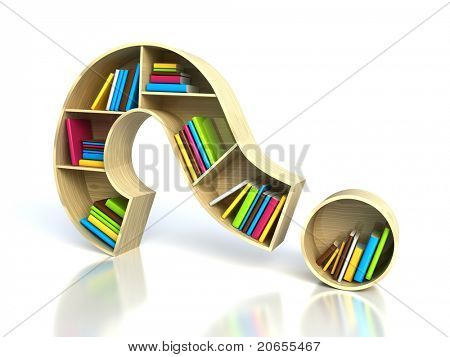 Question mark with books - search answer concept