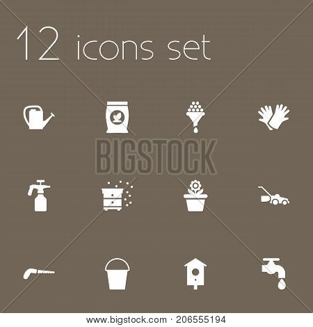 Collection Of Phosphorus, Bucket, Faucet And Other Elements.  Set Of 12 Farm Icons Set.