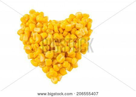 bright and tasty canned corn looks very appetizing the shape of the heart denotes the love for this food