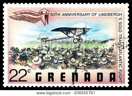 STAVROPOL RUSSIA - September 29 2017: a stamp printed in Grenada shows Charles Lindbergh trans-atlantic flight cirka 1977