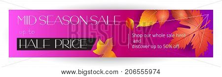 Mid season sale banner. Autumn Sale discount sign. Fall maple leaves abstract background. Save up to half price. Shop whole sale coupon & discover up to 50% off text, web banner, vector headline template.