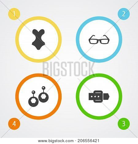 Collection Of Beachwear, Sunglasses, Eardrop And Other Elements.  Set Of 4 Ornamentation Icons Set.