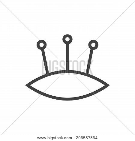 Vector Pincushion Element In Trendy Style.  Isolated Pins Outline Symbol On Clean Background.