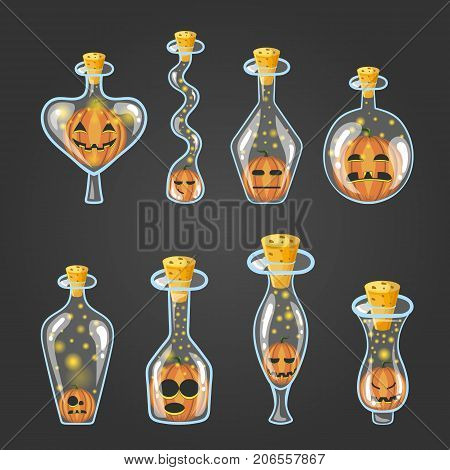 Big set of bottle elixir with Halloween pumpkin. Game design illustration