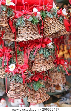 Christmas decoration for sale on advent market. Salzburg, Austria.   Christmas decoration on advent market. -- Stock Photo #165337044 Christmas decoration for sale on advent market. Salzburg, Austria.