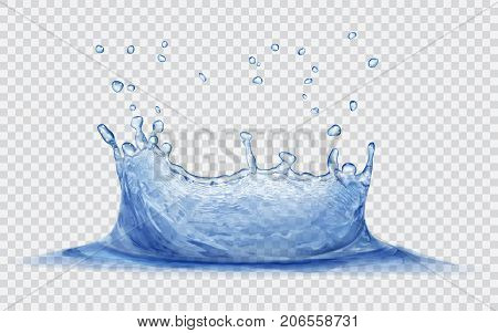 Transparent water crown with water drops. Splash of water in blue colors isolated on transparent background. Transparency only in vector file