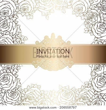 Abstract Background With Roses, Luxury White And Gold Vintage Frame, Victorian Banner, Damask Floral