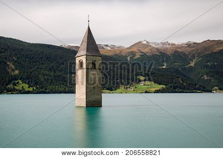 Submerged church at Lake Reschen South Tyrol Italy