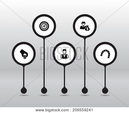 Collection Of Chips Pile, Wheel, Dealer And Other Elements.  Set Of 5 Casino Icons Set.