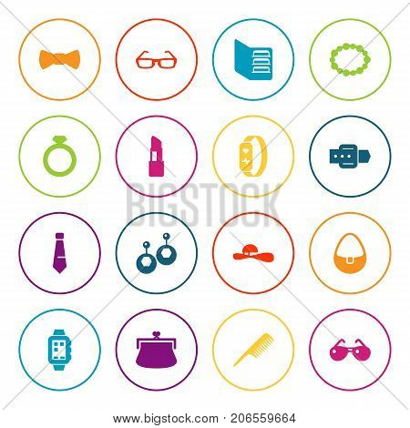 Collection Of Eardrop, Strap, Woman Hat And Other Elements.  Set Of 16 Accessories Icons Set.