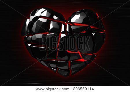 Brilliant ruby on black background. Black Crystal. St. Valentine's Day 3D rendering