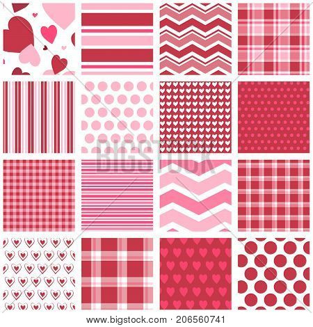 16 red and pink seamless patterns for Valentine's Day, digital paper, scrapbooking, paper crafts, gift wrap, gift tags, backgrounds, borders and more.