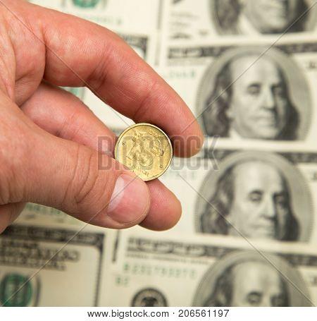 Swedish krona and the U.S. dollar . Photos in the studio
