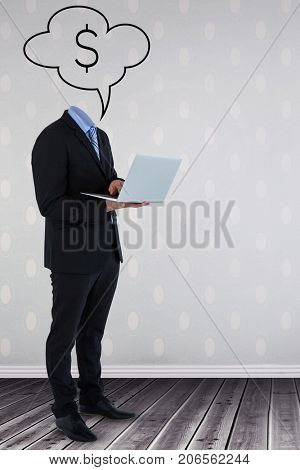 Headless businessman using laptop against vector image of dollar sign on speech bubble