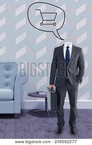 Headless businessman standing with briefcase against vector image of shopping cart on speech bubble