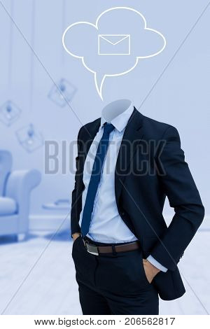 Headless businessman with hands in pockets against vector image of mail icon on speech bubble