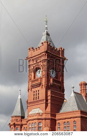 Cardiff, UK: March 10, 2016: The Pierhead Building is a Grade I listed building. It stands as one of the city of Cardiff's most familiar landmarks and was built in 1897 by the Bute Dock Company.
