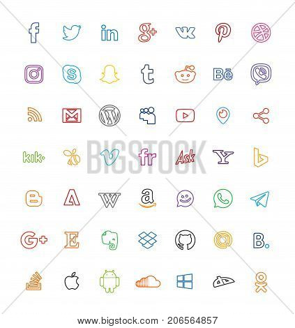 Social Media Icons Line Communication Web Vector