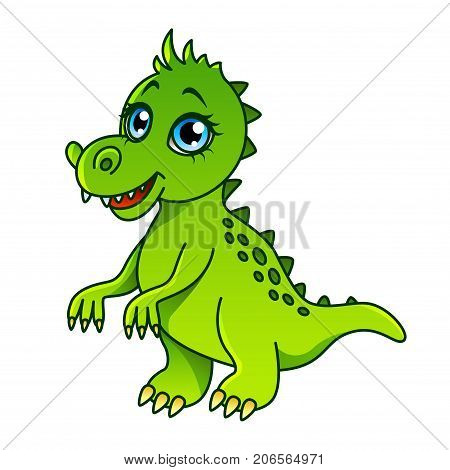 Cartoon dinosaur isolated on white vector illustration
