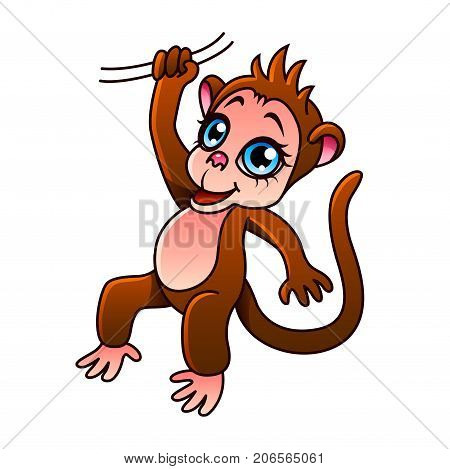 Cartoon monkey isolated on white vector illustration