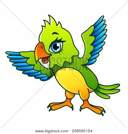 Cartoon parrot isolated on white vector illustration