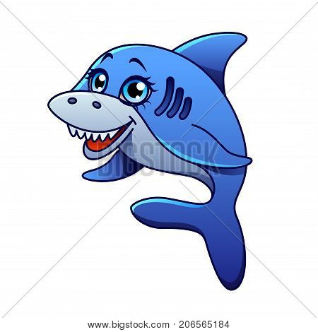 Cartoon shark isolated on white vector illustration