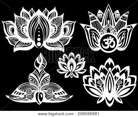 Set of Ornamental Lotus flowers on black