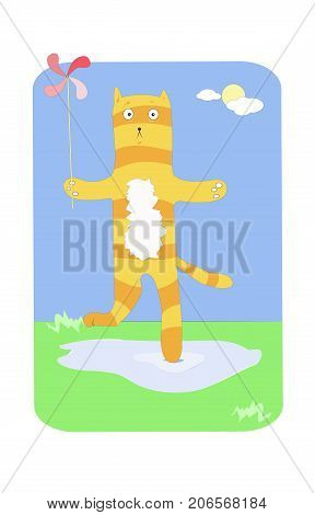Cute ginger cat with red children windmill having a walk on a sunny summer day. Vector illustration. Cartoon style.