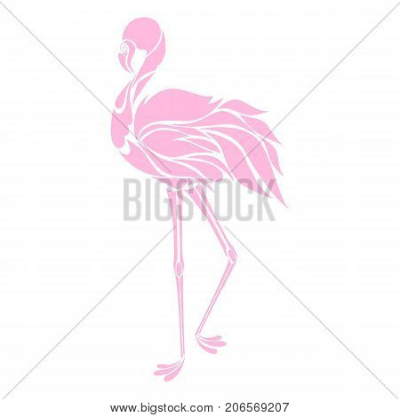 Beautiful pink flamingo silhouette decorative logo vector illustration