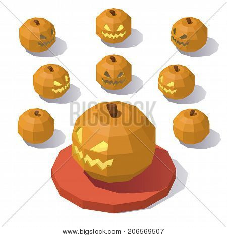 Vector isometric low poly Jack o Lantern. Jack o Lantern from different angles.