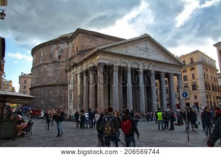 Pantheon Rome Italy Closeup Architecture Shot February 2015
