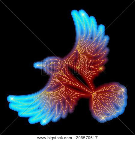 Tit bird neon shiny vector illustration design