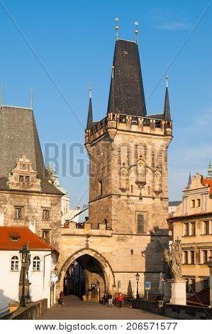 Lesser Town Bridge Tower with entrance gate to Charles Bridge, Prague, Czech Republic.
